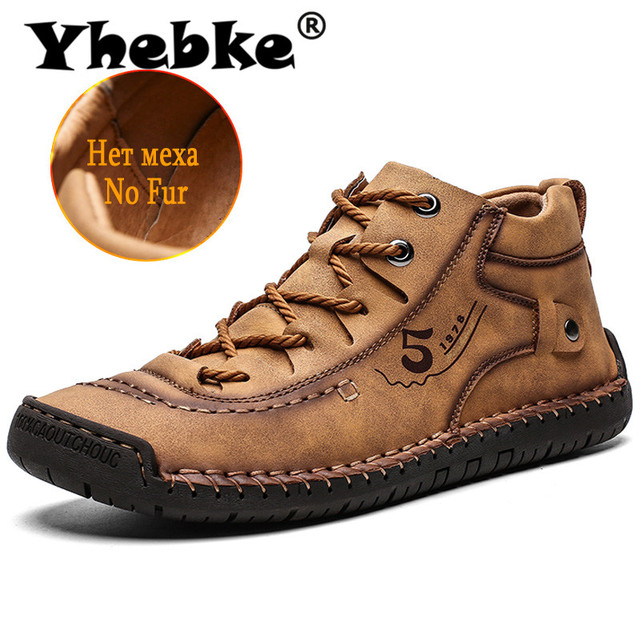 Yhebke Classic Winter Men Ankle Boots Comfortable Thick Plush Warm Men Snow Boots Split Leather Outdoor Man Motorcycle Boots