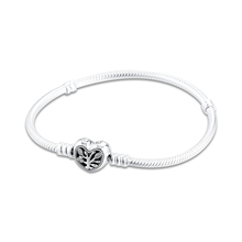 2020 New Bracelets Real 925 Sterling Silver Family Heart Snake Chain Charm Bracelets for Women DIY Fits Charms Jewelry pulsera cheap GDTC Chain Link Bracelets 925 Sterling NONE Party Fine TRENDY FLB100