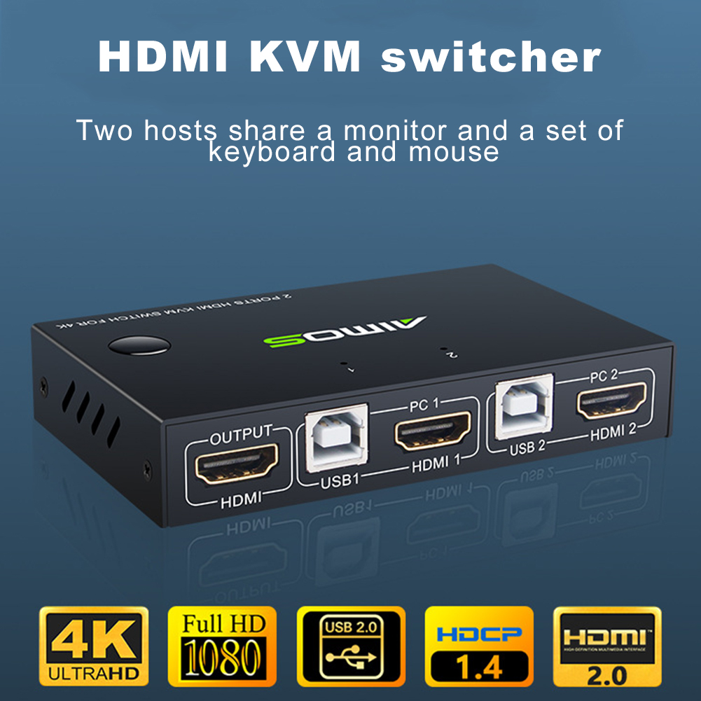 Metal 1 Output Professional KVM Switcher Dual Port Universal Plug And Play Stable Sharing USB HDMI 4K 1080P For Mouse Keyboard