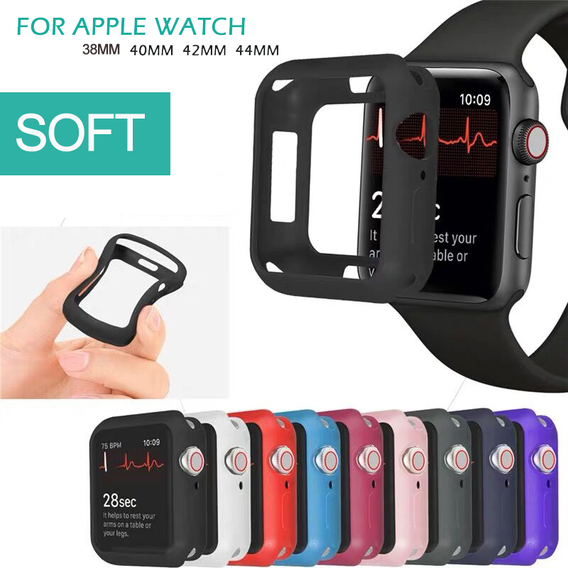 TPU Case For Apple Watch Series 5 4 3 2 1 Band 38mm 42mm 40mm 44mm Silicone Stylish Soft TPU Protective Case Cover Shell