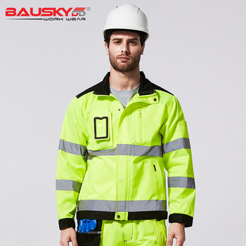 High quality autumn winter working clothes functional safety workwear Fluorescent yellow reflective work jacket ansi sea 107 hi vis safety reflective winter parka men jacket workwear rain jacket orange rain coat with reflective stripes