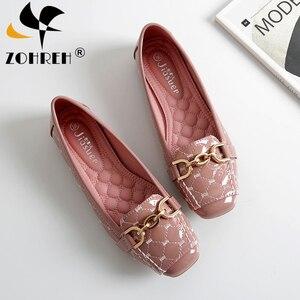 Image 1 - Femmes chaussures plates 2019 décontracté mode Slip on ballerine femme chaussures plates en cuir verni mocassins dames printemps automne chaussures de femme nouveau