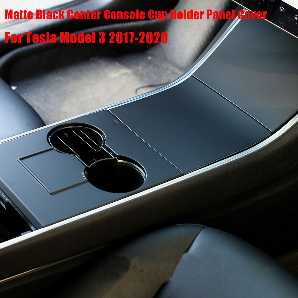 Matte Black Center Console Cup Holder Panel Cover Trim For Tesla Model 3 2017-2020