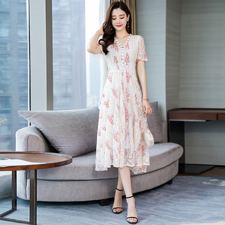 Women Beach summer dress 2019 temperament v neck long lace dress for women with short sleeves and lace lace in Dresses from Women 39 s Clothing
