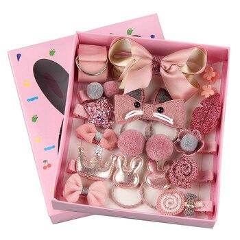 цена на 18 Pcs/Box Hairpins for hair women Kids Children Accessories Barrettes Baby Fabric Bow Flower Headwear Hair clips Girl Headdress