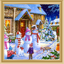 Christmas snowman Diamond Painting art Dispaint Full Square Drill scenery Embroidery Cross Stitch