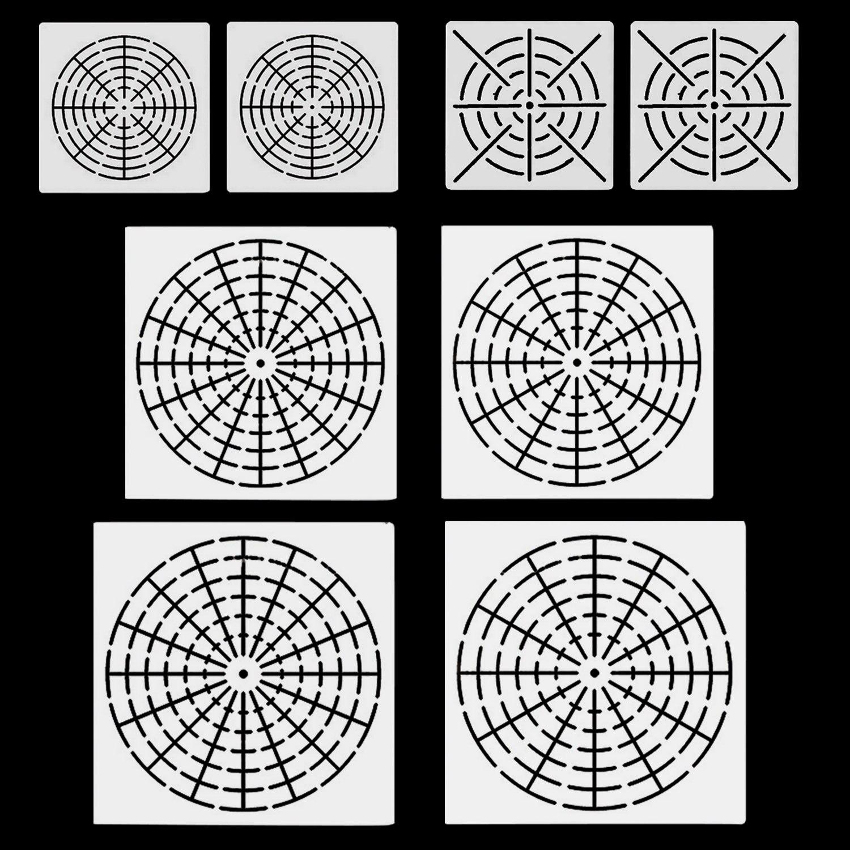 8pcs Mylar Mandala Dotting Painting Stencil Template Tool For Craft Furniture Canvas Rock Fabric Wall Arts Mandala Dotting Tools