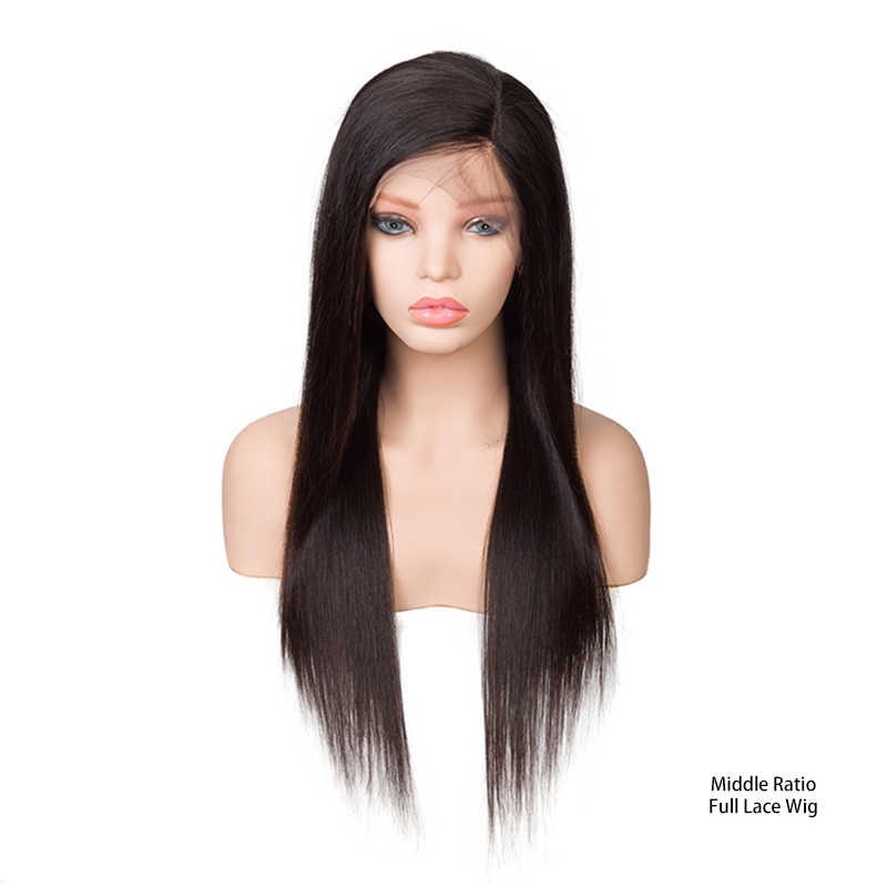 Sevengirls Silk Base Full Lace Human Hair Wigs With Baby Hair Middle Ratio 10-22 Inch Pre Plucked Straight Brazilian Remy Hair