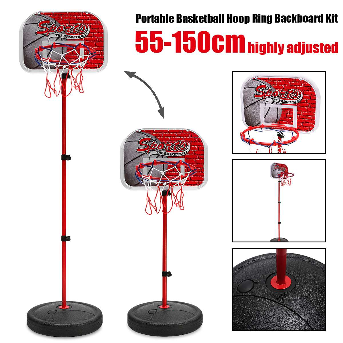 Adjustable Children Hanging Basketball Stand Indoor Mini Hanging Basketball Hoop Board For Kids Game Basketball Balls Sport Toy