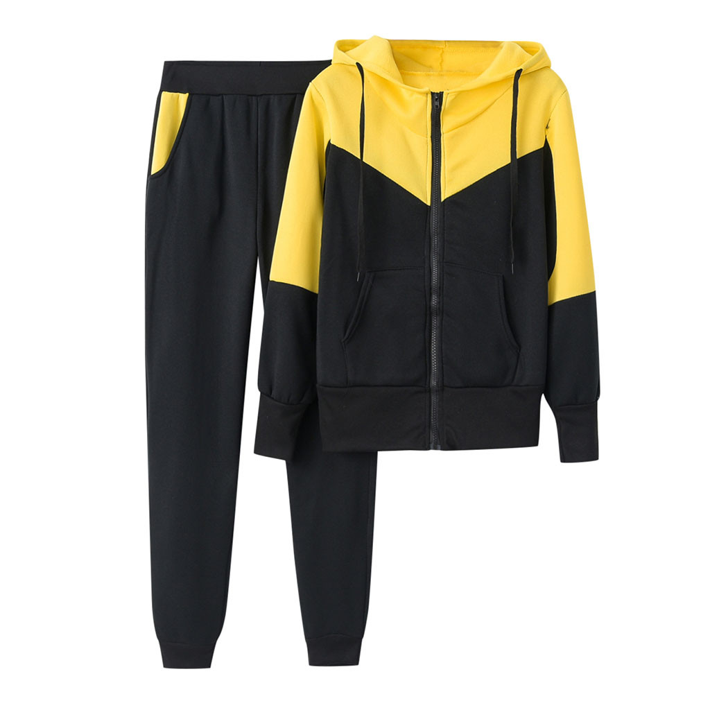 NEW Sale Women Solid Color Hooded Sweatshirt And Pant Tracksuit Sport Suit Mujer Tracksuit Ensemble Femme Two Piece Set #916