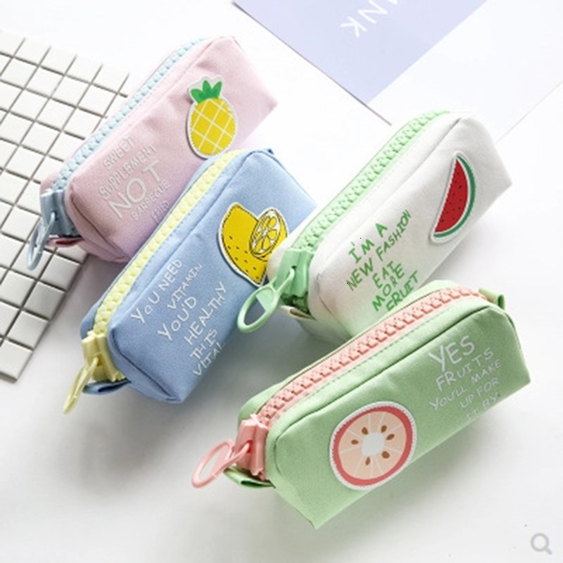 Creative Colorful Large Capacity Pencil Case Kawaii Cartoon Pen Bag Box Cute Canvas Pencilcase School Stationery Supplies 050022