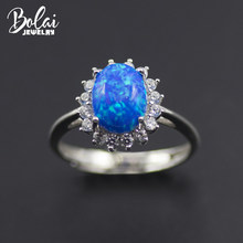 Bolai blue fire opal ring 925 sterling silver oval 9*7mm cabochon created gemstone fine jewelry rings for women best gift 2019(China)
