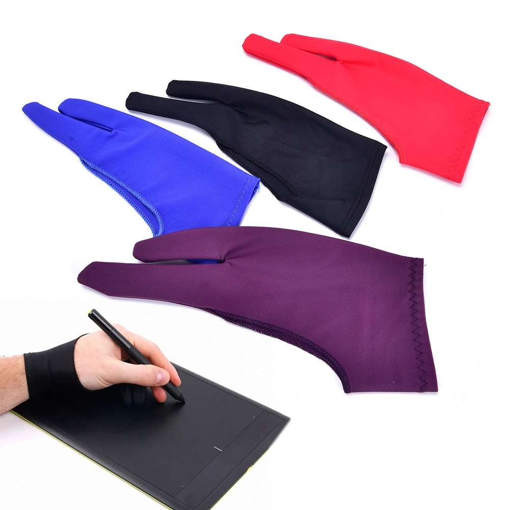 Purple 2 Finger Anti-fouling Glove,both For Right And Left Hand Artist Drawing For Any Graphics Drawing Tablet