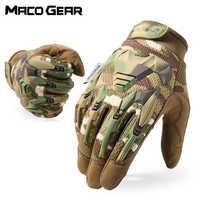 Guante táctico Multicam camuflaje ejército militar combate Airsoft bicicleta senderismo al aire libre tiro Paintball caza guante dedo completo