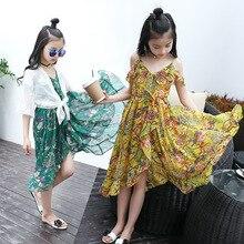Toddler Girls Dress Summer 2019 Fashion Kids Sling Floral Beach Childrens Princess Bohemian Dresses Clothes 5 7 8 12 Year