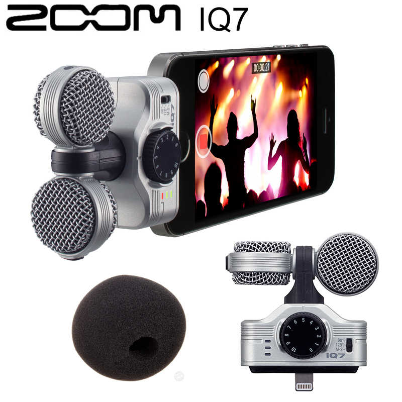 Originele Zoom IQ7 Mid-Side Stereo Condensator Microfoon Voor Iphone 11 Pro Max X Ipad Ipod Touch Opname Microfoon