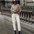 FINEWORDS на осень в Корейском стиле абрикосового цвета штаны-шаровары бойфренда для женщин; Большие размеры бежевые джинсы винтажные повседне...