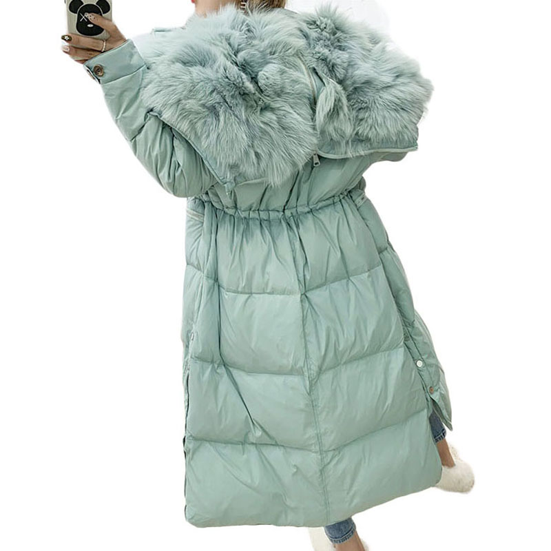 2019 New Women's Down Jacket Winter Luxury Big Real Fox Fur Collar Warm Woman White Duck Down Coat Over The Knee Long Parkas