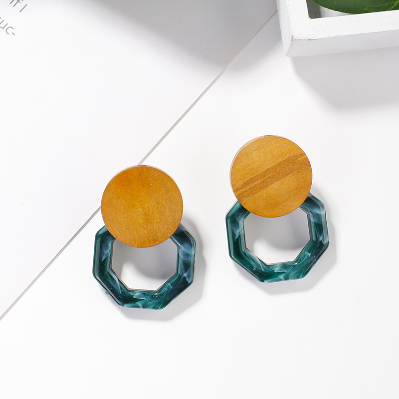 AENSOA New Design Vintage Green Color Acrylic Resin Metal Geometric Round Square Long Drop Earrings for Women Girl Jewelry Gifts