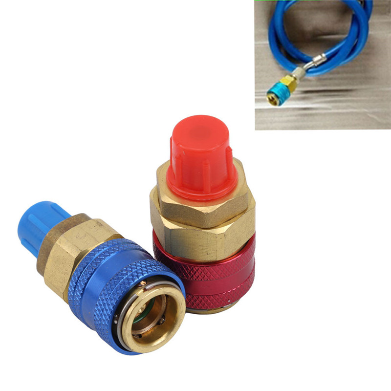 1 set <font><b>Freon</b></font> <font><b>R134A</b></font> H / L Auto Quick Coupler Connector Brass <font><b>Adapters</b></font> Air Conditioning Refrigerant Adjustable AC Manifold Gauge image