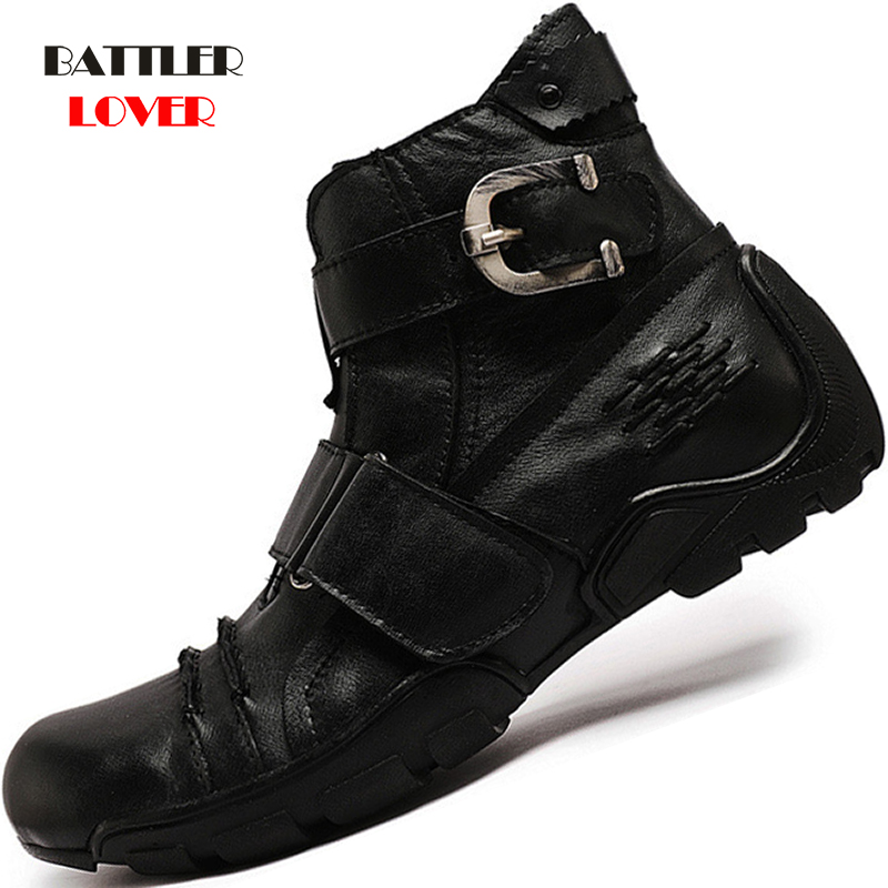 Motorcycle Punk Men Army Military Boots Genuine Leather Winter Cowboy Snow Metal Gothic Punk Botas for Male Biker Martin Boots