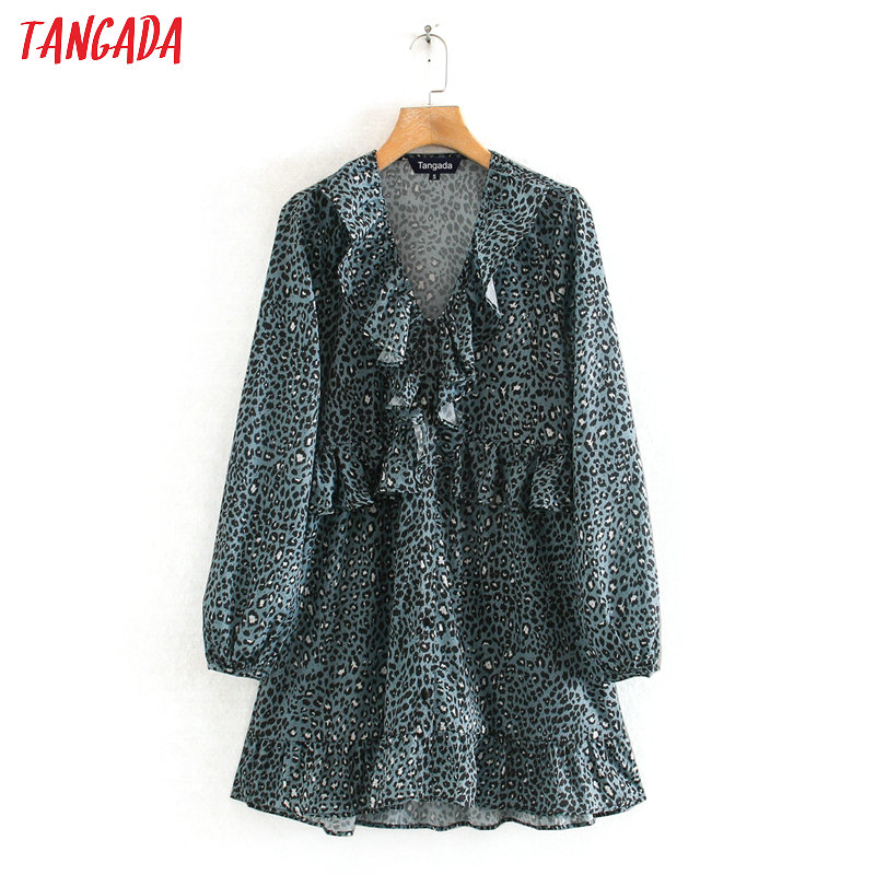 Tangada Fashion Women Blue Leopard Print Mini Dress Ruffles V Neck Long Sleeve Ladies Vintage Chiffon  Dress Vestidos 2W123