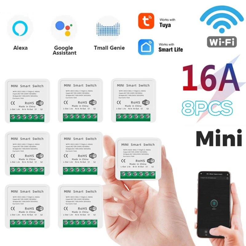 Tuya Mini 16A WiFi Switch Module With Smart Life App 2 Way Control, Smart Home Interruptor Work For Alexa Google Home Smart Home