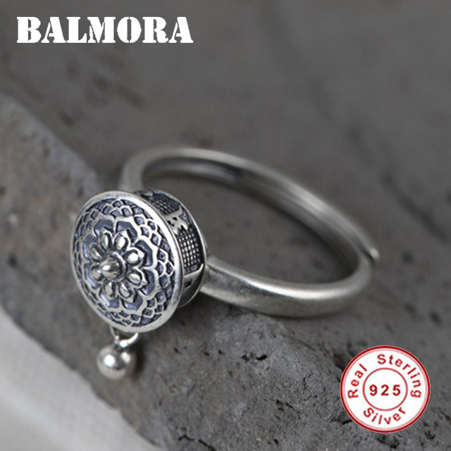 BALMORA 100% réel 925 en argent Sterling anneaux bouddhistes pour les femmes dame anneau rotatif tibétain prière Mantra anneau bonne chance anneau cadeau
