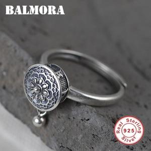 BALMORA 100% Real Sterling Silver Buddhist Rings For Women Lady Rotating Ring Tibetan Prayer Mantra Finger Ring Good Luck Ring(China)