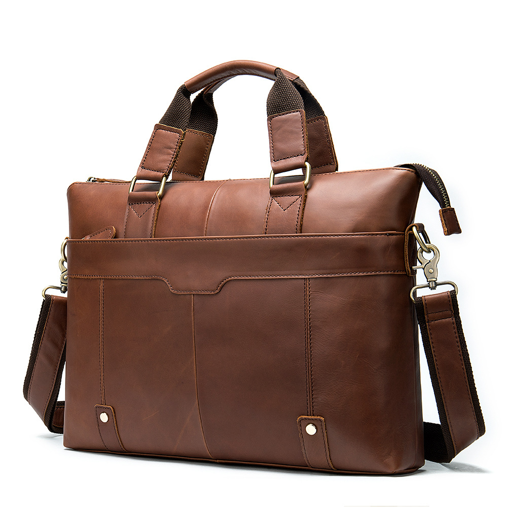 Leather Briefcases Men Business Casual Men's Briefcase Men Shoulder Oblique Section Laptop Bag 14 Inch Portable KUMON