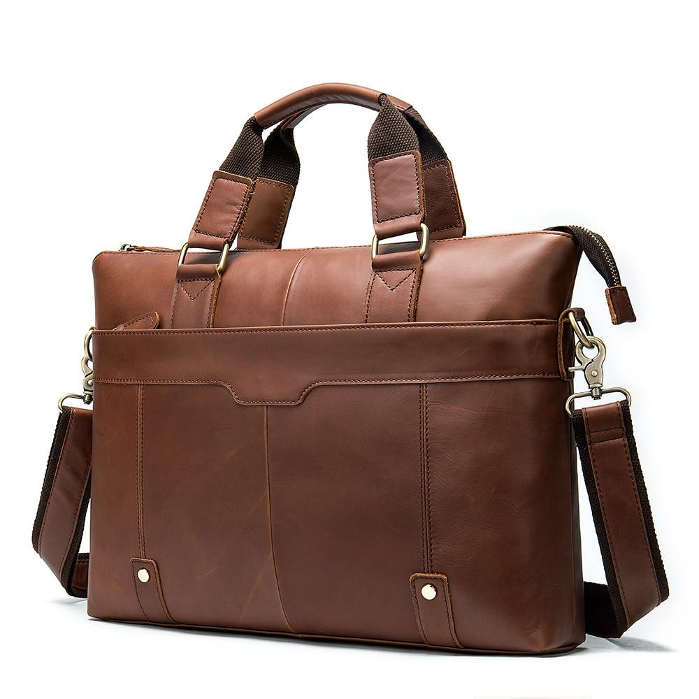 Leather Briefcases Men Business Casual Men's Briefcase Men Shoulder Oblique Section Laptop Bag 14 Inch Portable KUMON