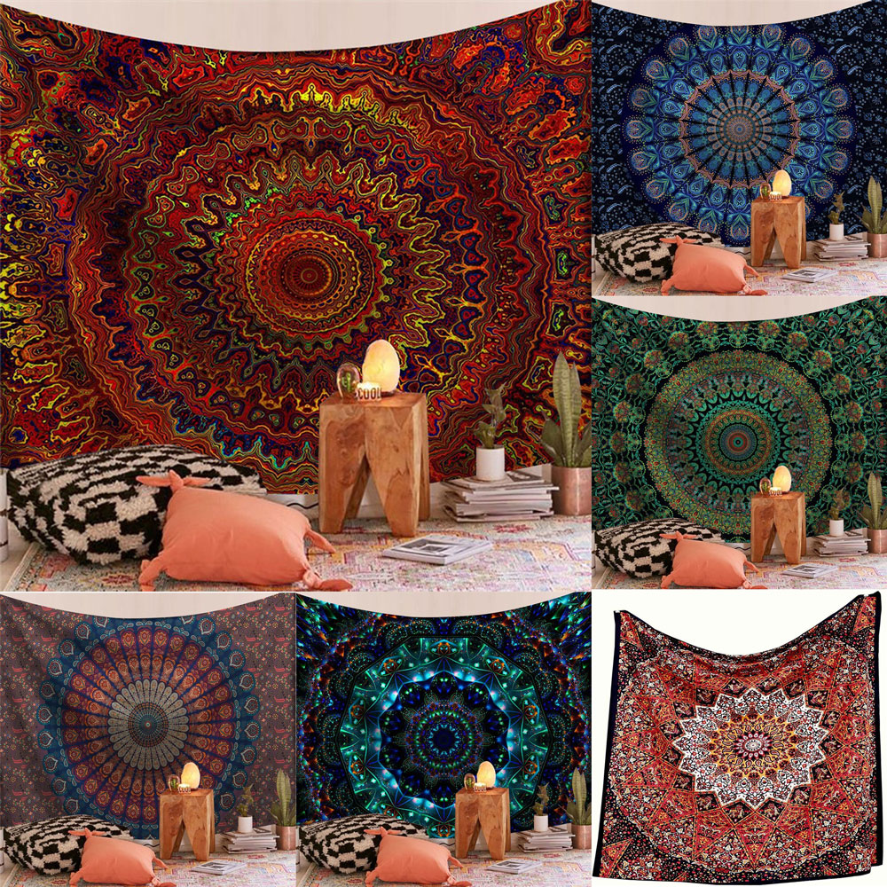 Indian Mandala Big Tapestry Wall Hanging Sandy Beach Throw Rug Blanket Camping Travel Mattress Bohemian Sleeping Pad Tapestries