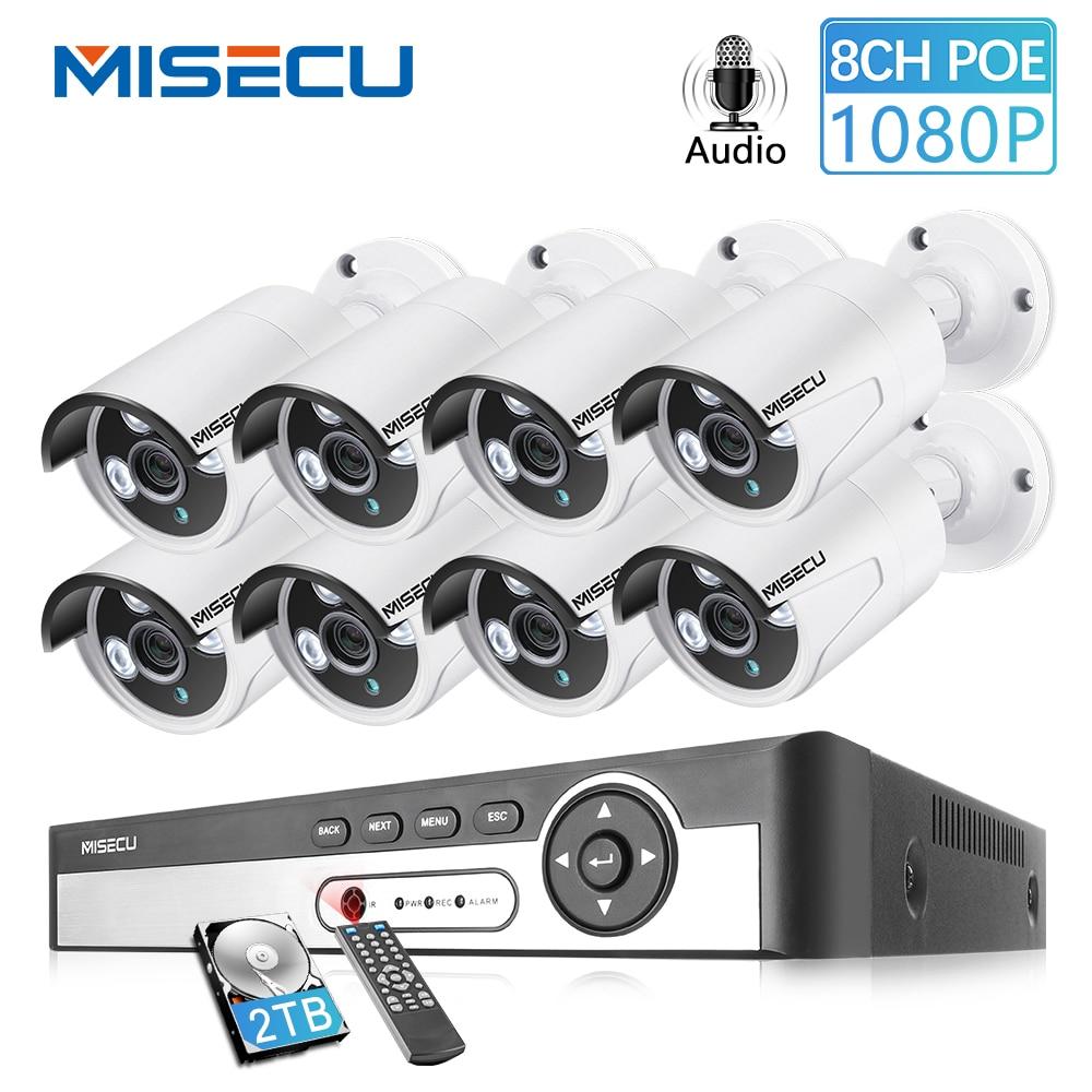 MISECU 8CH NVR 1080P 2MP IP réseau POE enregistrement Audio extérieur étanche CCTV système de caméra de sécurité kit de Surveillance vidéo à domicile