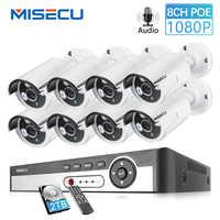 MISECU 8CH NVR 1080P 2MP red IP POE registro de Audio impermeable al aire libre cámara de seguridad CCTV sistema de Home video Vigilancia kit de