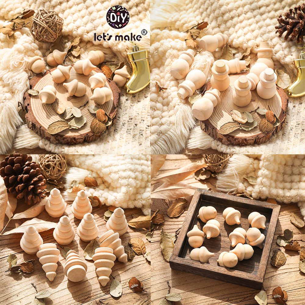 Wooden Peg Dolls Baby Toys 10pcs Maple Wood Unpainted Family Wooden Doll Pine Cone Snowman Dolls Christmas Tree Toy Baby Teether