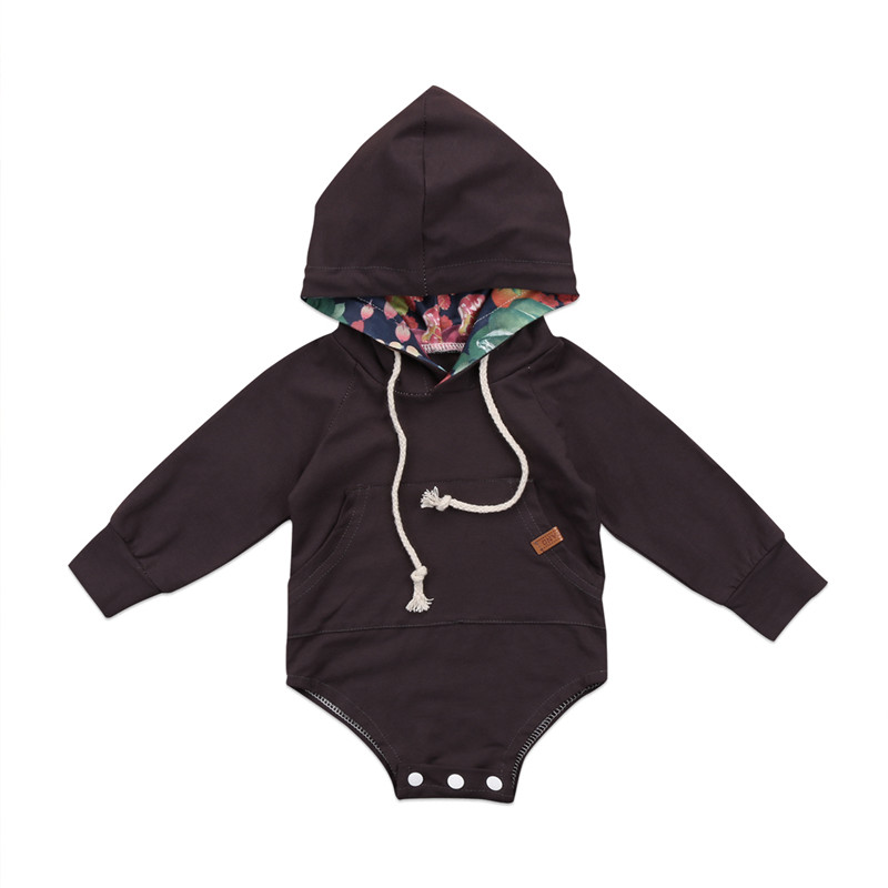 Newly Autumn Warm Newborn Baby Boy Girl Clothes Bodysuits Neck Pullcord Flower Hooded Hoodie Bodysuit Jumpsuit Outfits Clothes