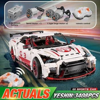 Yeshin Motor Technic Car Toys The MOC 25326 GTR-35 Speed Car Set Remote Control Car Kids Christmas Toys Building Blocks Bricks