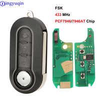 Jingyuqin 3 Bottoni Chiave a Distanza Fob Fsk PCF7946/PCF7946AT Chip di 433 Mhz per Fiat 500 Grande Punto 2010- 2017