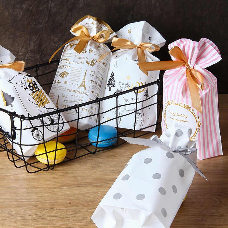 10 Pcsnew Năm Giáng Sinh Túi Quà Tặng Giáng Sinh Túi Kẹo Bánh Quy Túi Nhựa Đựng Bao Bì Thực Phẩm Tặng Dây Rút Dây Kéo Túi