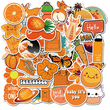 50 PCS Orange VSCO Sticker For Chidren Toy Waterproof Girl Stickers Skateboard Laptop Suitcase Motorcycle Car Decal Toys F4 - discount item  40% OFF Classic Toys