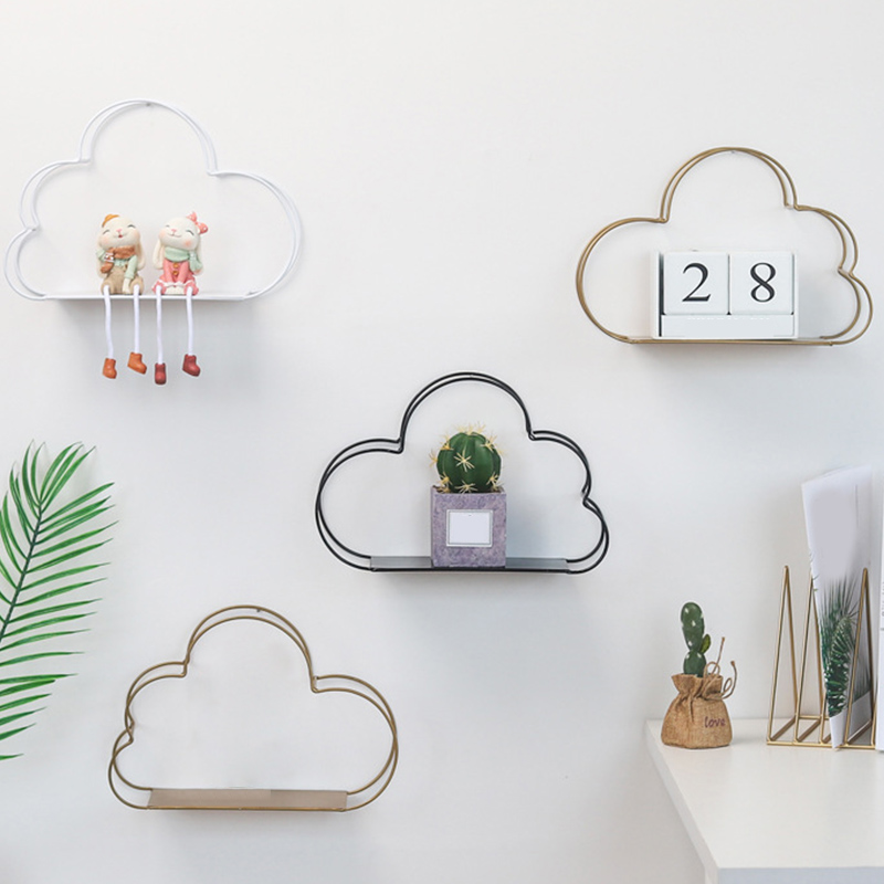 Iron Storage Racks Hanging Decor Storage Box Wall Book Figurines Display Crafts Shelves Flower Pot Cloud Shape Storage Rack