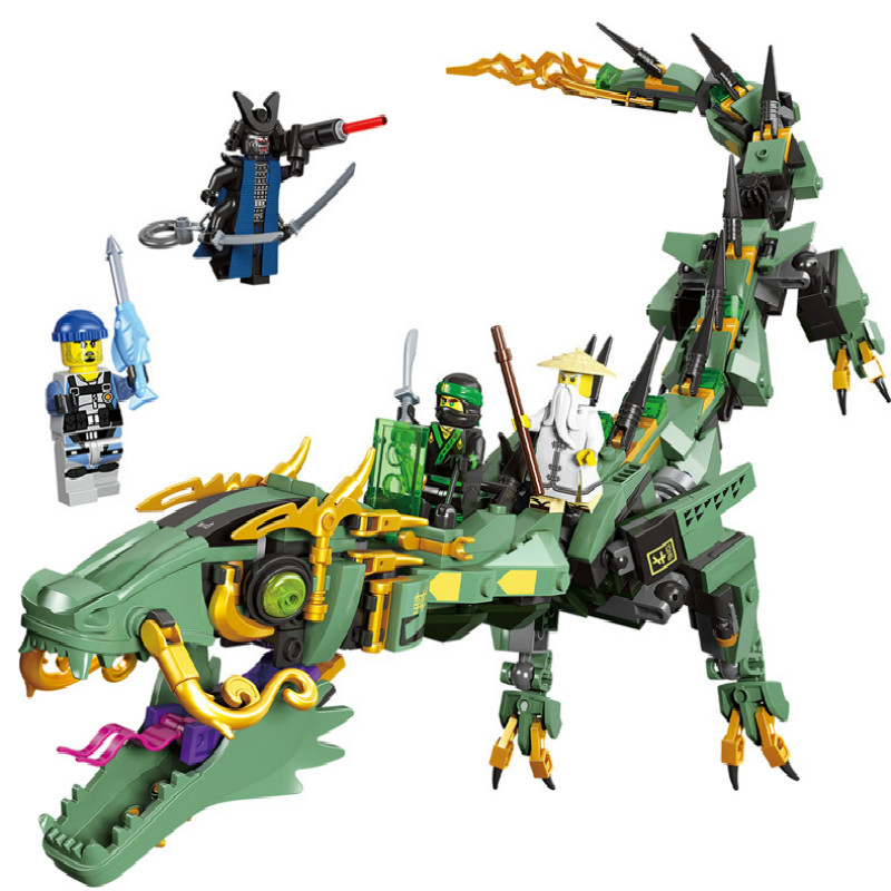 Flying Green Ninja Dragon Mecha Compatible Ninjagoes <font><b>70612</b></font> Set Minifigs Figures DIY Building Blocks Toys For Children Boy Gifts image