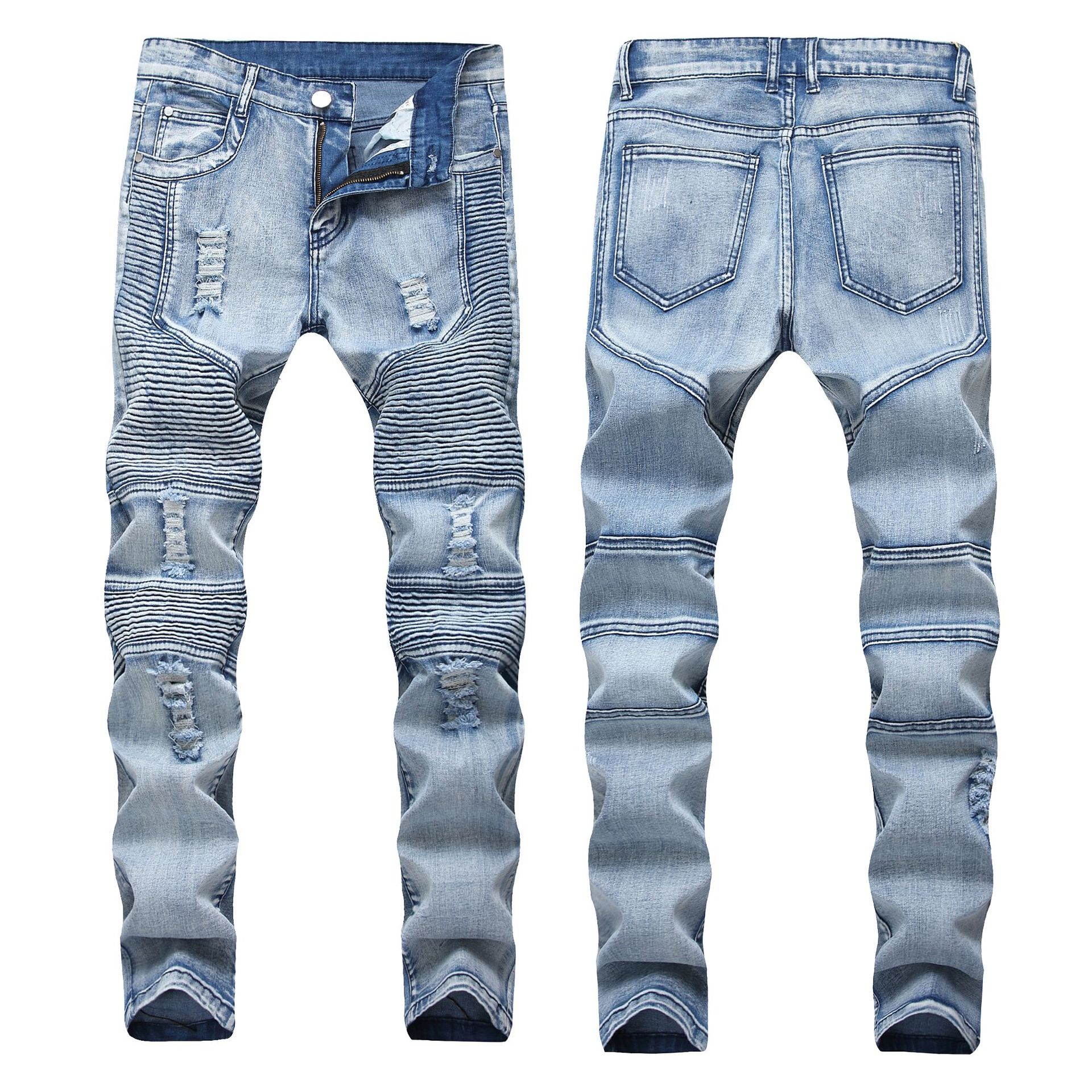 Europe And America Pleated With Holes Jeans Men's Elasticity Slim Fit Pants MEN'S Jeans Fashion Man