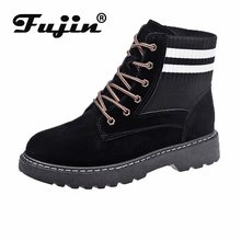 FUJIN New Classic Women Ankle Boots Winter Female Snow Casual shoes Thick Heel Suede  Shoes Booties Platform