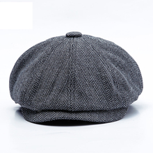 Winter Newsboy Caps Men Peaky Blinders Men Berets Hat Warm Tweed Octagonal Hat F