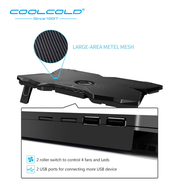 Laptop Cooler Laptop Cooling Pad Notebook Gaming Cooler Stand with Four Fan and 2 USB Ports for 14-17inch Laptop 4