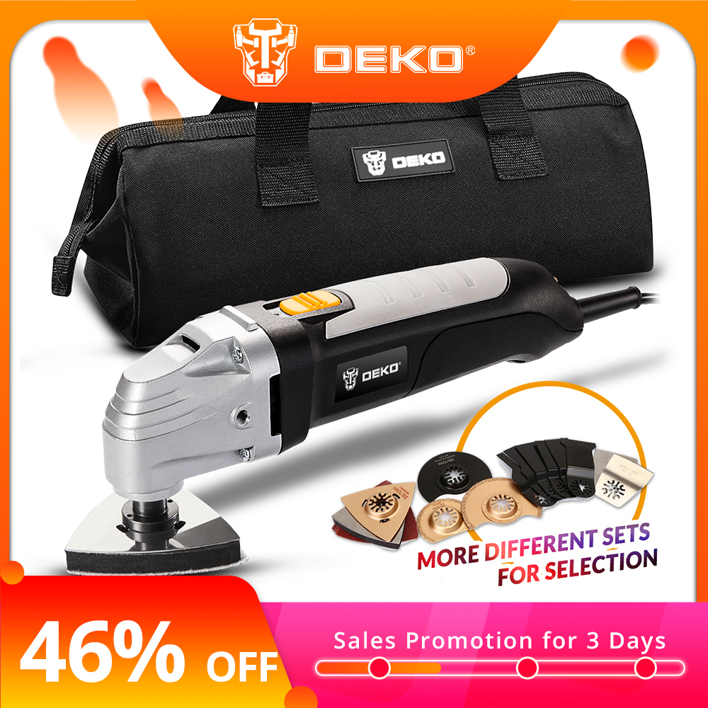DEKO 220V AC Variable Speed Multi-function Oscillating Tool Multi-Tool DIY Electric Trimmer with 7 Universal Fit Accessories action figure pokemon