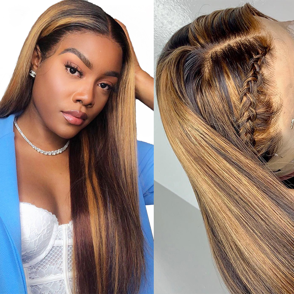 Allove Highlight Wig Honey Blonde Lace Front Wigs  Straight Lace Front Wig Lace Part Wig 13X4X1 Ombre  Wig 2