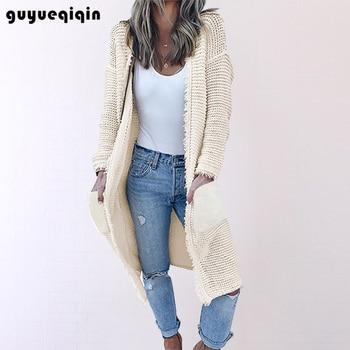 New Arrival Tassel Sweater Women Thick Knitted Long Cardigan Coat Sleeve Winter Warm Outwear