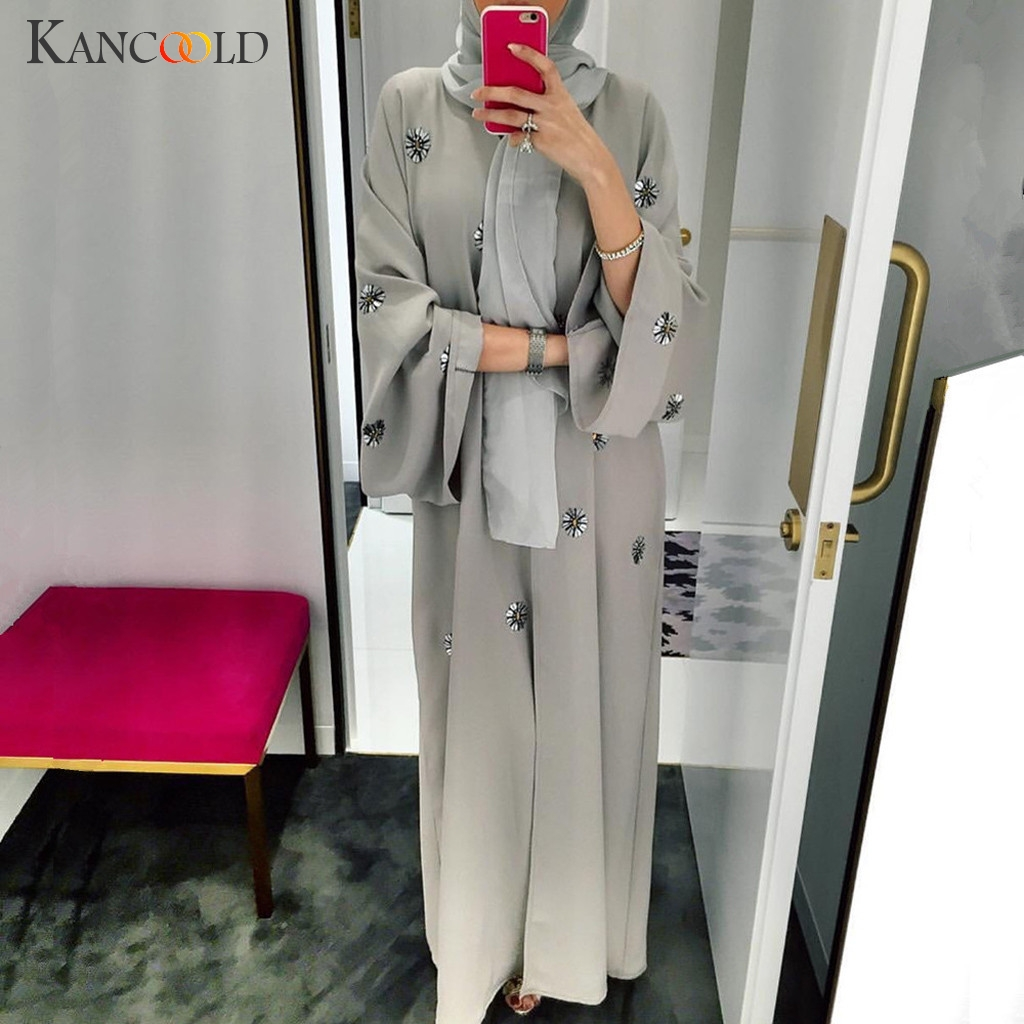 KANCOOLD Muslim Women Maxi Dress Plus Size Robe Embroidery Abaya Open Cardigan Dubai Paryer Ramadan Casual Kaftan Long Dress